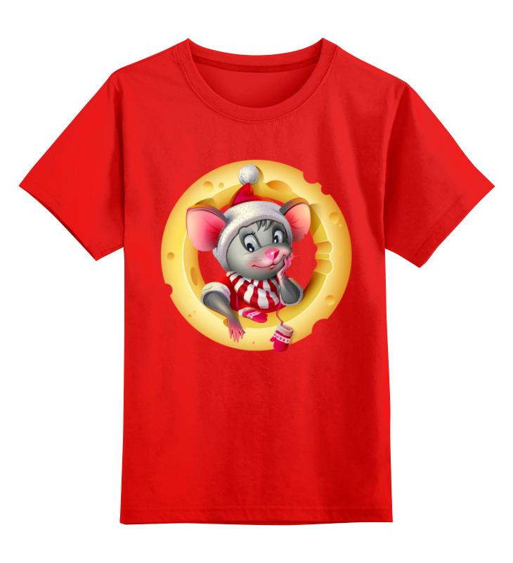 Купить 0000003062596, Детская футболка Printio Мышонок цв.красный р.128,
