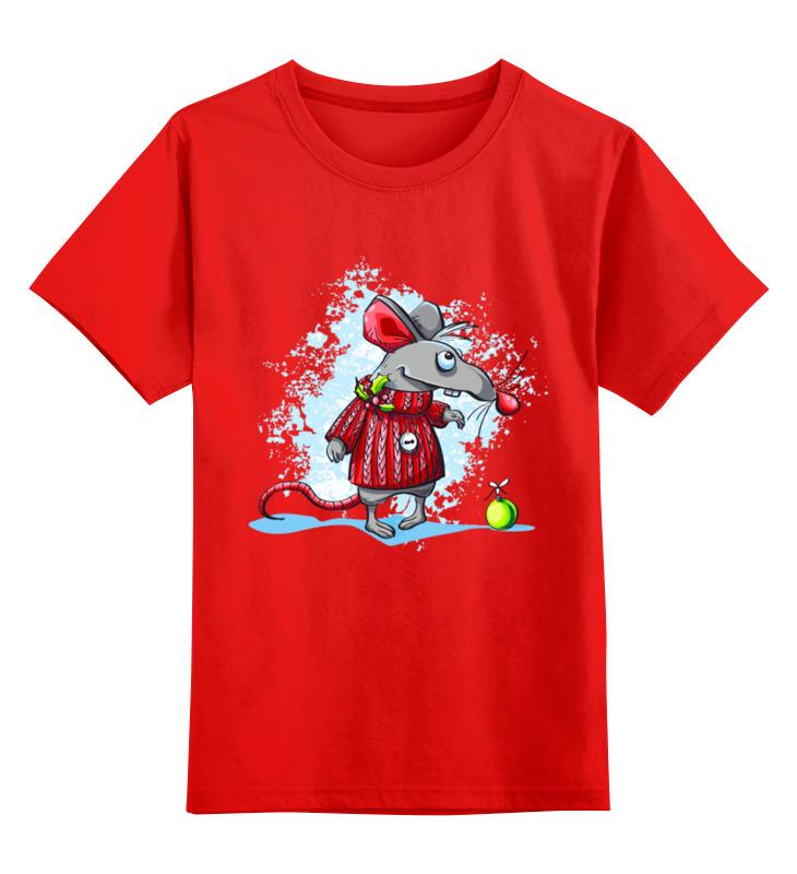 Купить 0000003062613, Детская футболка Printio Мышонок цв.красный р.128,