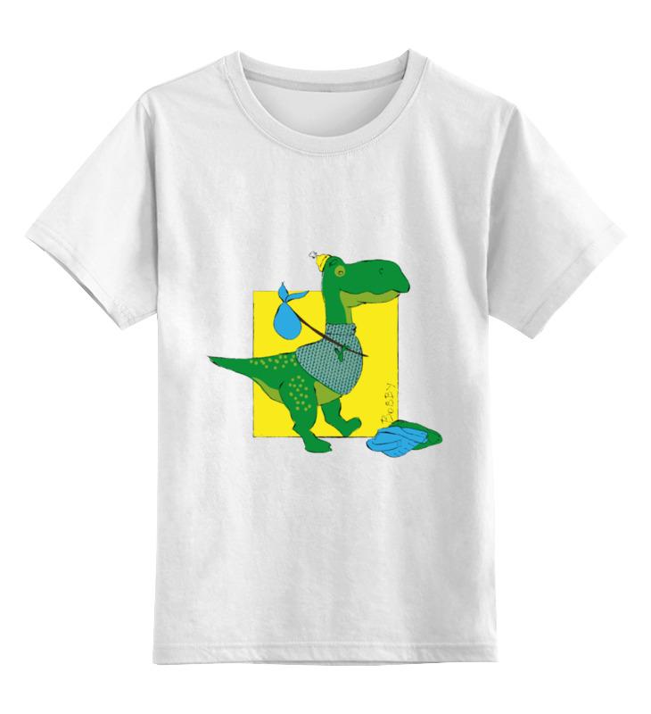 Купить 0000003246912, Детская футболка Printio Динозавр бобби цв.белый р.116,