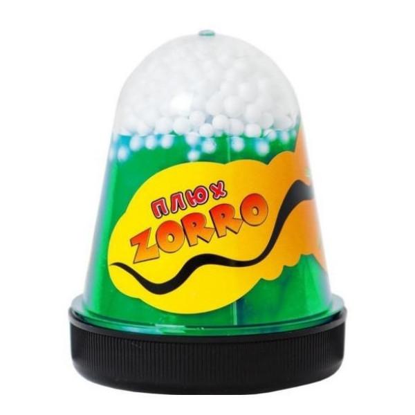 Слайм Плюх. Zorro, зеленый перламутровый с шариками, 130 грамм Плюх 0861