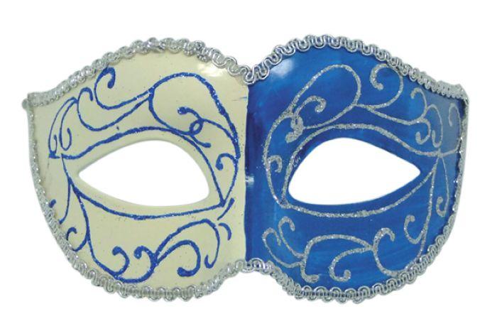 Купить Карнавальная маска Феникс-Презент Голубая двуликая,