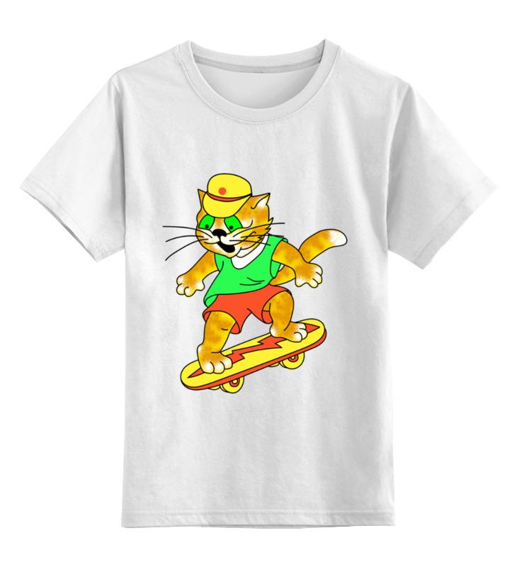 Купить 0000003064163, Детская футболка Printio Кот на скейтборде цв.белый р.104,