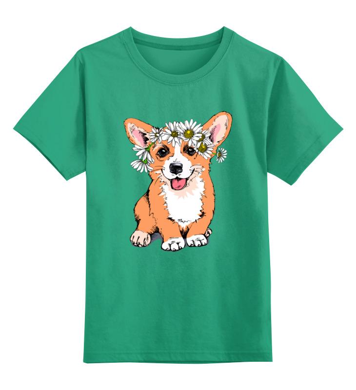 0000003174969, Детская футболка Printio Корги цв.зеленый р.104,  - купить со скидкой