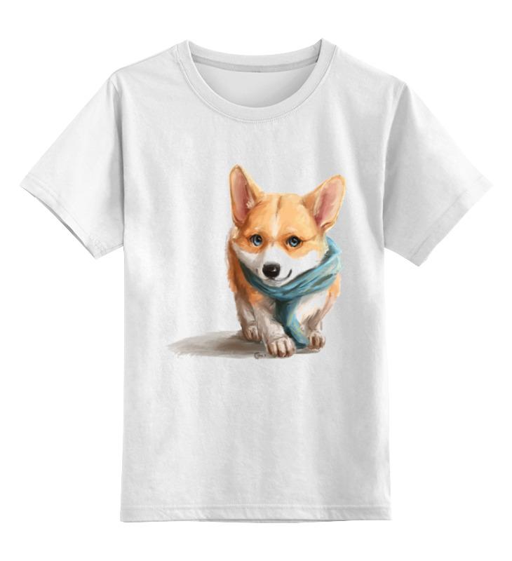 Купить 0000003239540, Детская футболка Printio Корги цв.белый р.104,