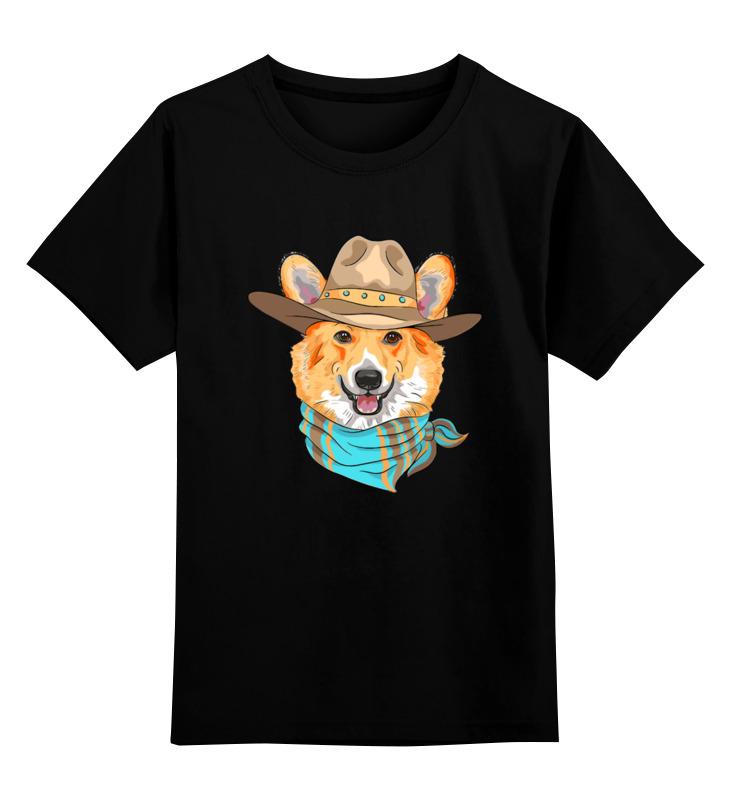 Купить 0000003255469, Детская футболка Printio Корги цв.черный р.104,