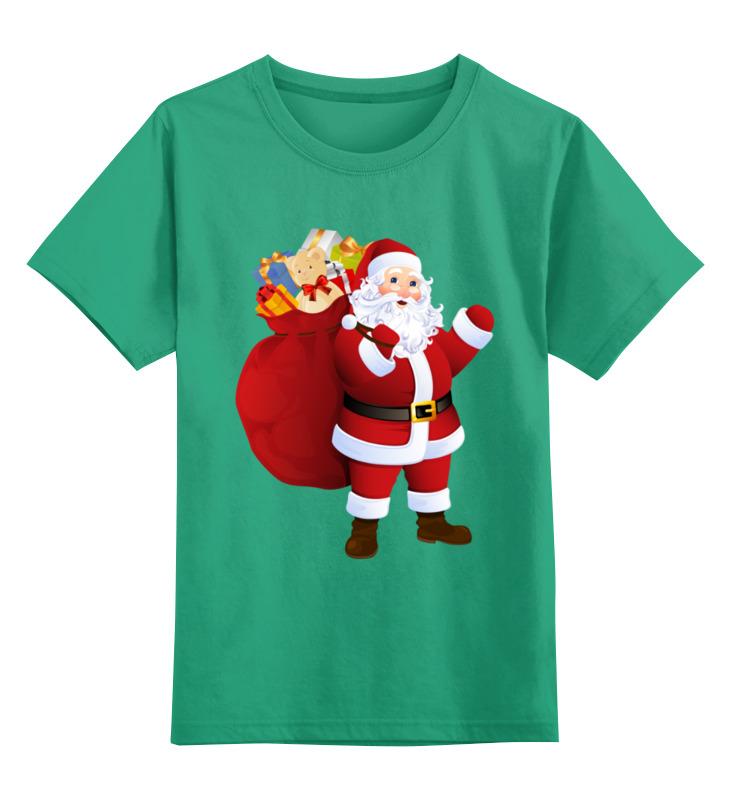 Купить 0000003062580, Детская футболка Printio Дед мороз цв.зеленый р.164,