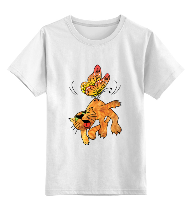Детская футболка Printio Кот и бабочка цв.белый р.164 0000003064223 по цене 790