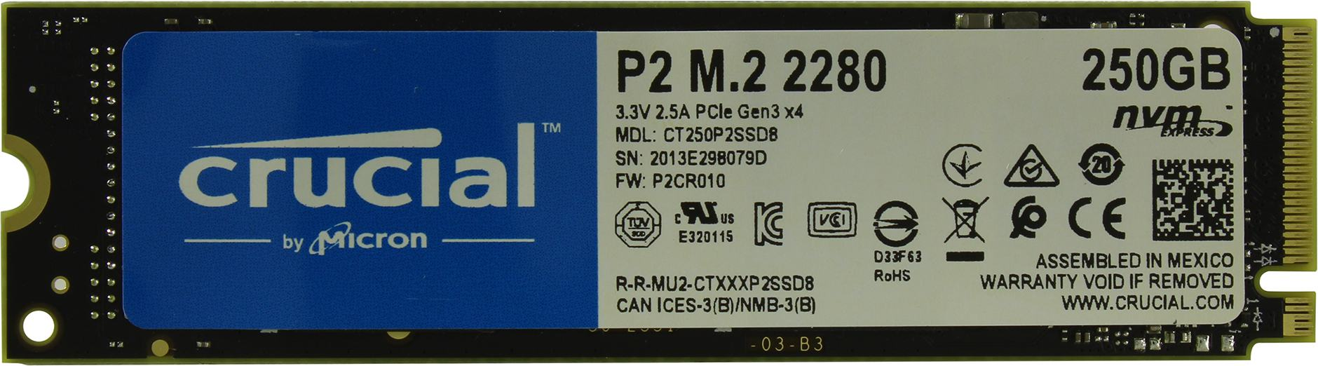 Внутренний SSD накопитель Crucial P2 250GB (CT250P2SSD8)