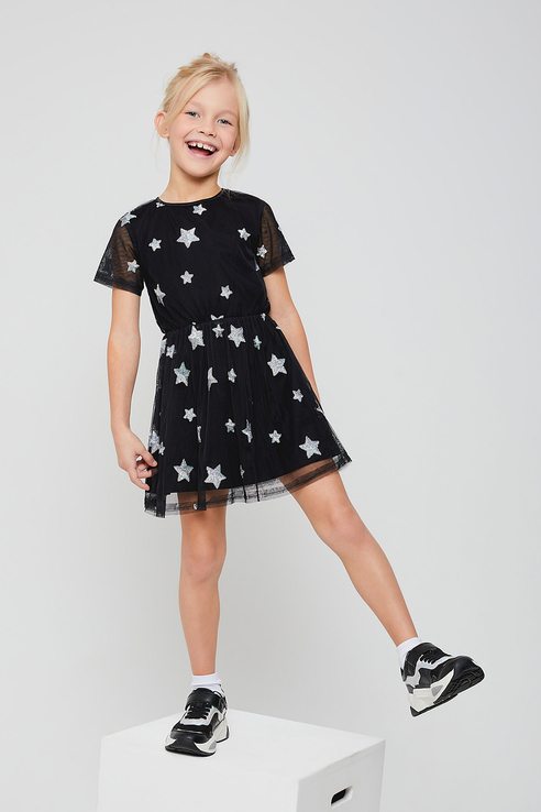 Купить 812040705, Платье для девочек Sela цв. черный р-р. 98,