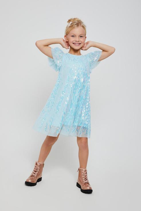 Купить 812040719, Платье для девочек Sela цв. бирюзовый р-р. 98,