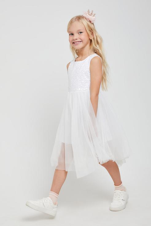 Купить 8120407600, Платье для девочек Sela цв. белый р-р. 98,