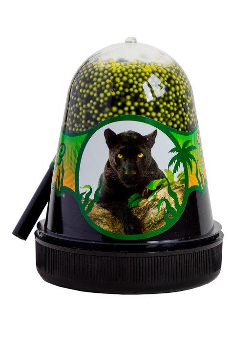 Слайм с желтыми пенопластовыми шариками Jungle (Ягуар), 130 грамм Фабрика игрушек S300-12
