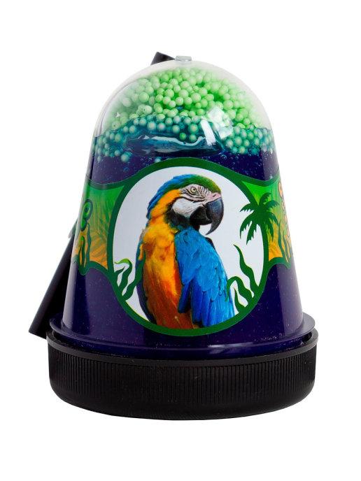 Слайм с зелеными пенопластовыми шариками Jungle Попугай, 130 г Фабрика игрушек S300-24