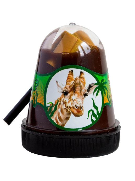 Слайм с коричневыми поролоновыми кирпичиками Jungle Жираф, 130 г Фабрика игрушек S300-27
