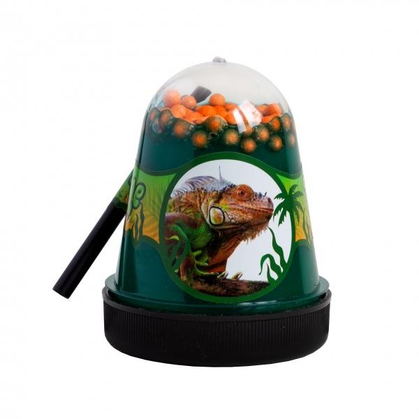Слайм с пенопластовыми оранжевыми шариками Jungle Игуана, 130 г Фабрика игрушек S300-20