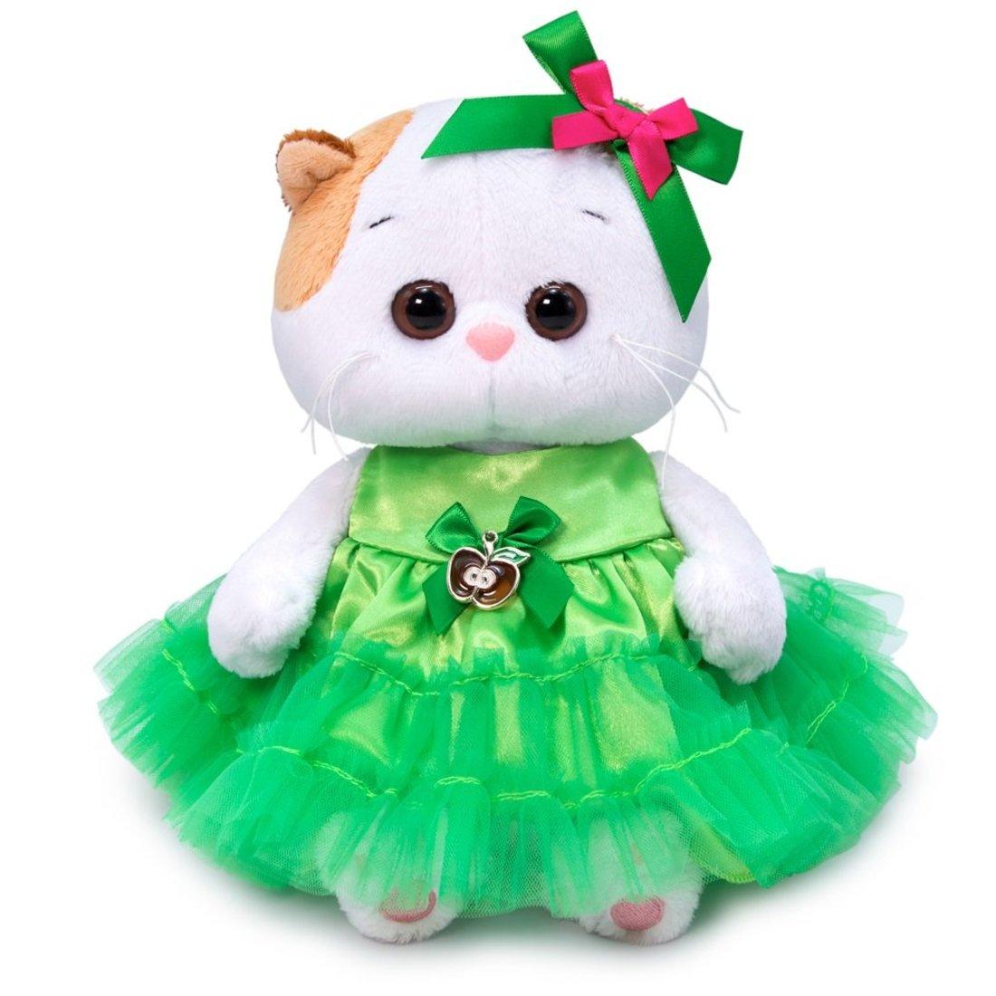 Купить Мягкая игрушка Basik&Ko Кошечка Ли-Ли, Baby, в платье с яблочком, 20 см, BUDI BASA,