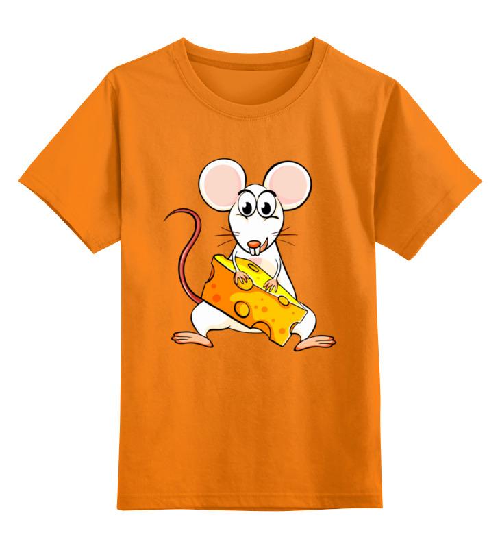 Купить 0000003062670, Детская футболка Printio Мышонок цв.оранжевый р.152,