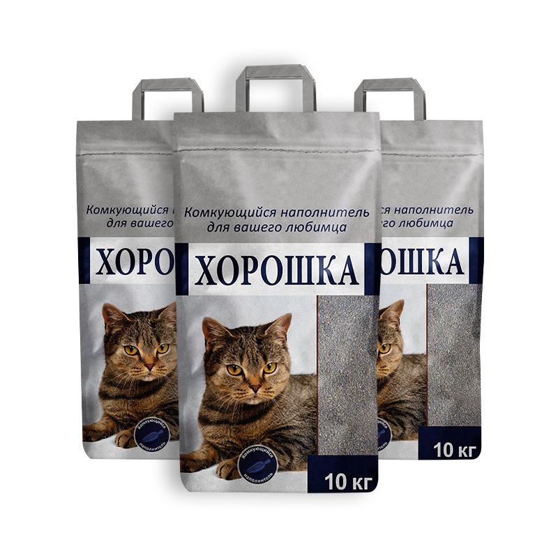Комкующийся наполнитель для кошек Хорошка бентонитовый, 10.07