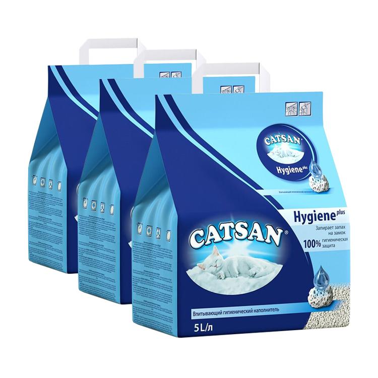 Впитывающий наполнитель для кошек Catsan Гигиена глиняный 2.44 кг 5 л 3 шт.
