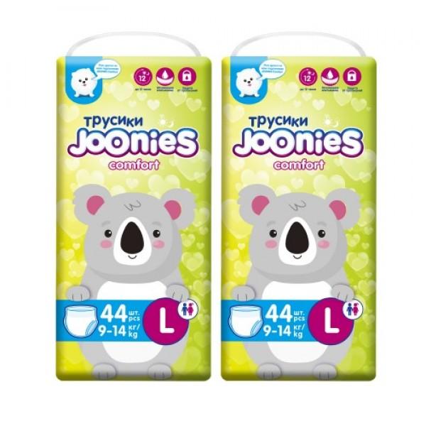 Купить JOONIES Подгузники-трусики Comfort, размер L (9-14 кг), 44 шт. 2 шт, Подгузники-трусики JOONIES Comfort,