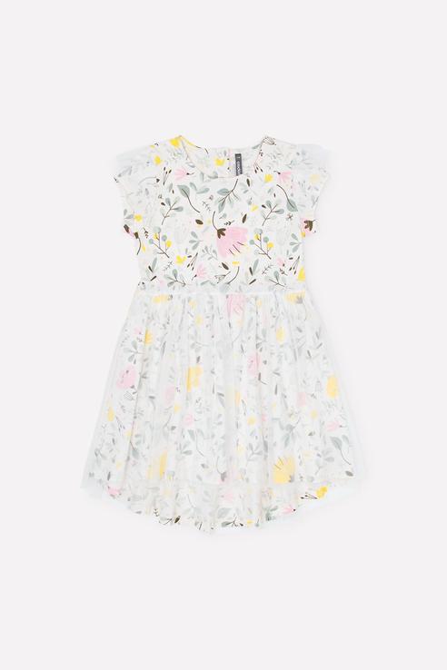 Платье для девочек Crockid цв. белый р-р. 110 КР 5679/б-лил к285