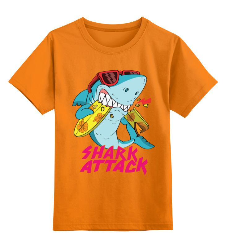 Купить 0000003307642, Детская футболка Printio Акула цв.оранжевый р.152,