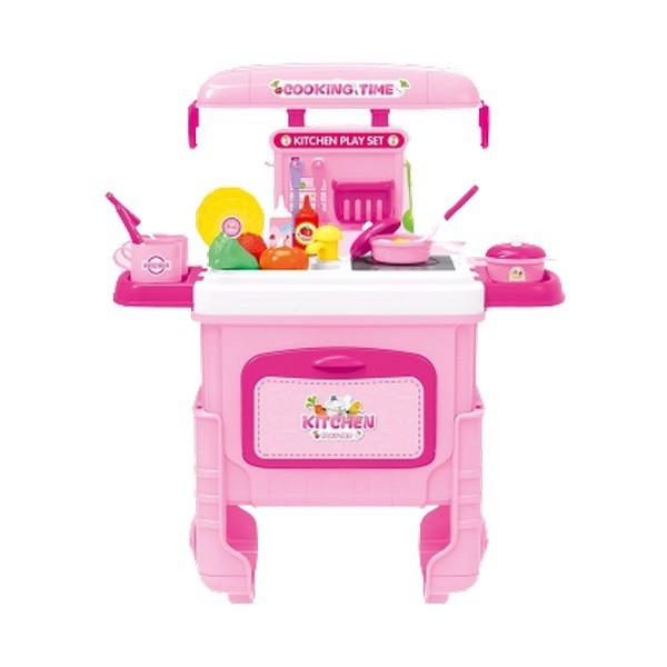 Купить Детская кухня Shantou посуда и продукты, в чемодане на колесах, с ручкой, 35*23*56 см, Shantou Gepai,
