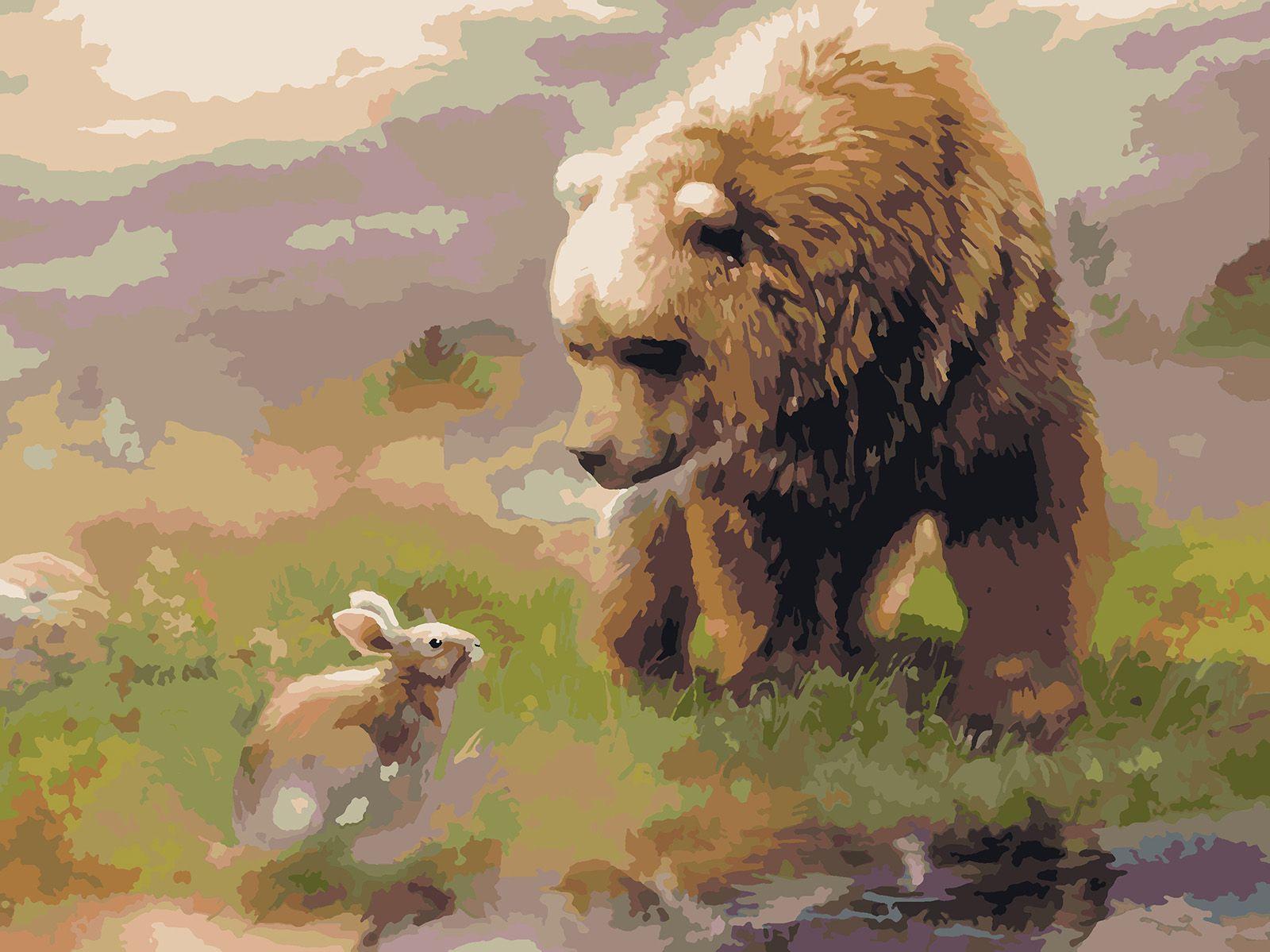 Картина по номерам Красиво Красим Заяц и Медведь, 40 х 50 см
