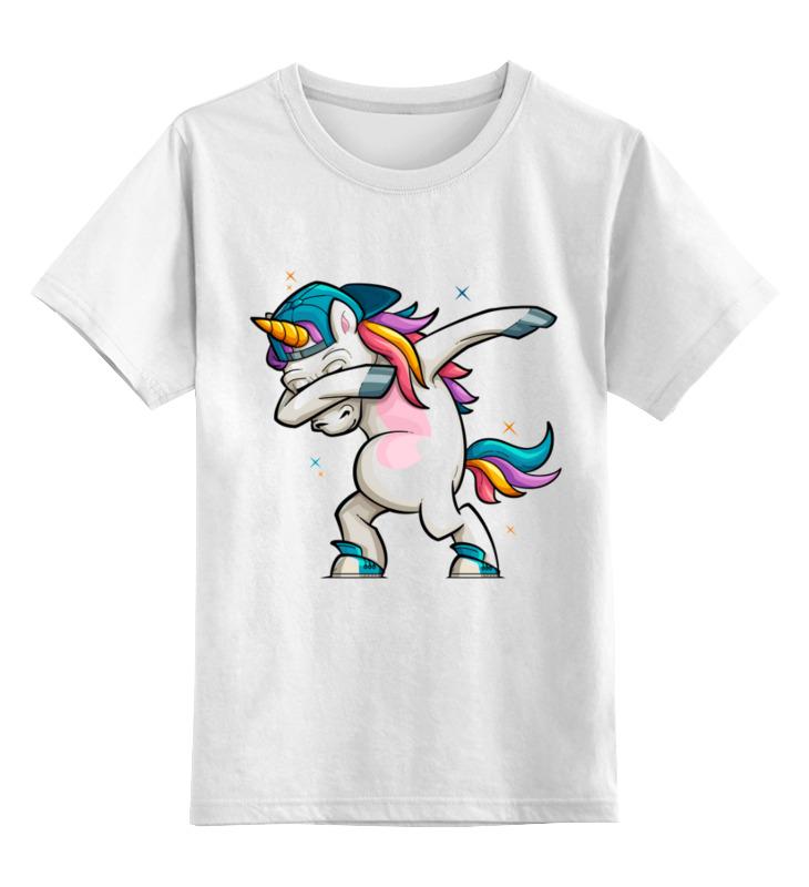 Купить 0000003318168, Детская футболка Printio Единорог даб цв.белый р.128,