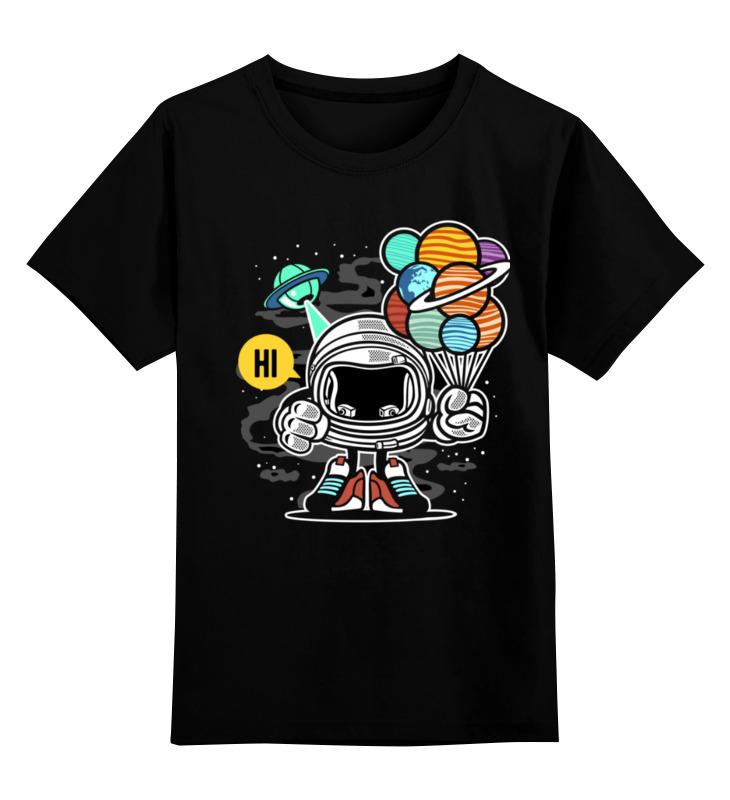 Купить 0000003318175, Детская футболка Printio Космонавт цв.черный р.128,