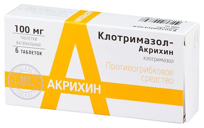 Купить Клотримазол-Акрихин таблетки ваг.100 мг №6, Акрихин АО