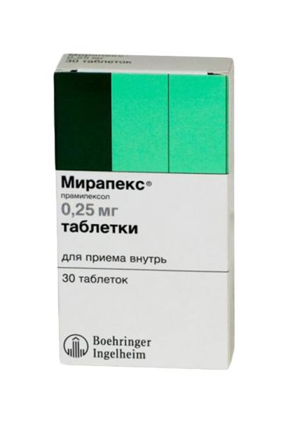 Мирапекс таблетки 0,25 мг №30