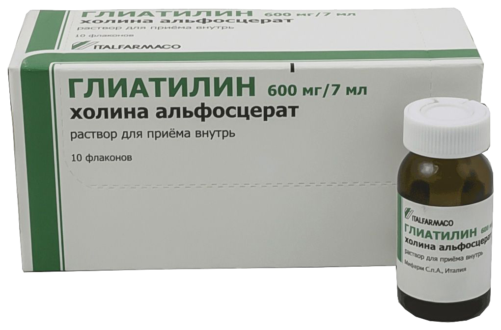 Купить Глиатилин раствор для приема внутрь 600 мг/7 мл флакон 7 мл №10, Italfarmaco