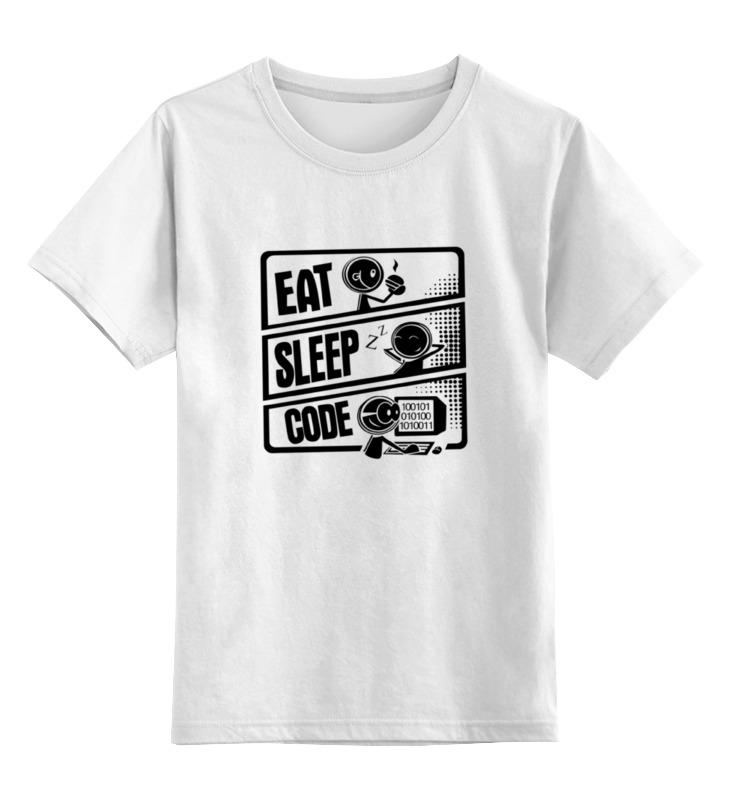 Купить 0000000659130, Детская футболка классическая Printio Eat, sleep, code, р. 128,