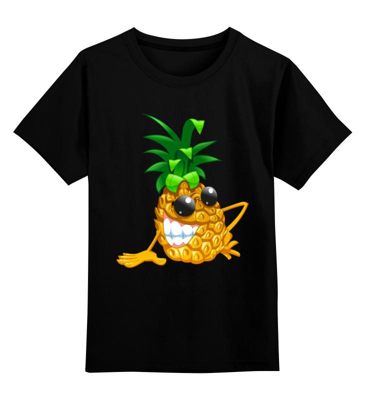 Купить 0000003316633, Детская футболка Printio Крутой ананас цв.черный р.116,