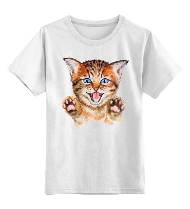 Купить 0000003356941, Детская футболка Printio Котик цв.белый р.116,