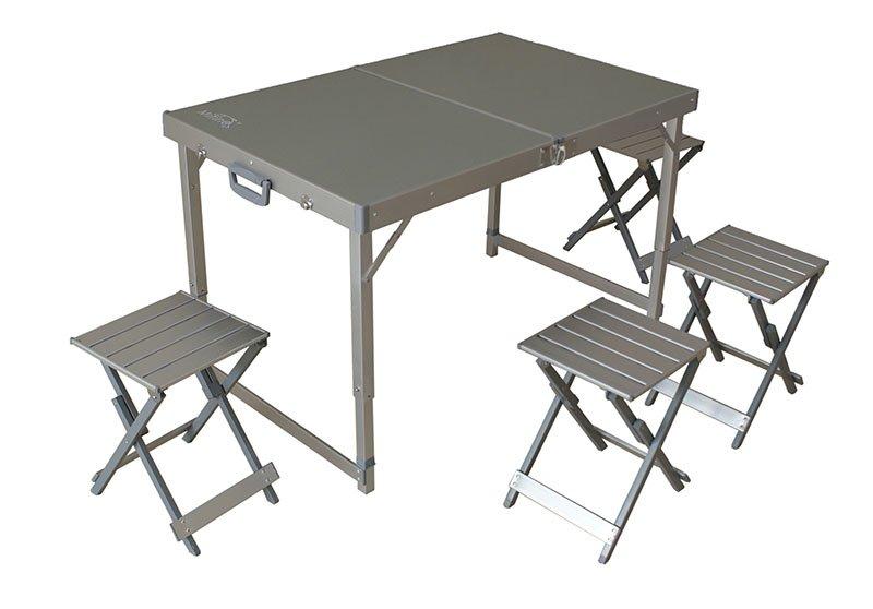 Туристический стол со стульями Mifine KX-AE-3 серебристый