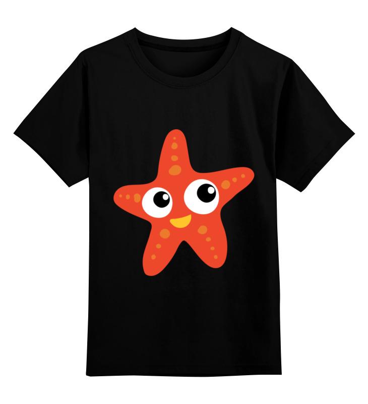 Купить 0000003402195, Детская футболка Printio Морская звезда цв.черный р.116,