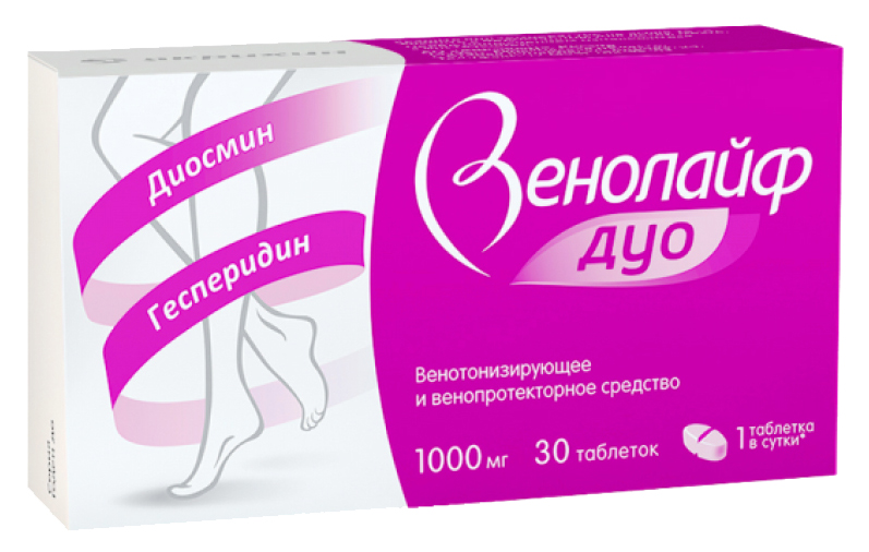 Венолайф Дуо таблетки, покрытые пленочной оболочкой 1000 мг №30