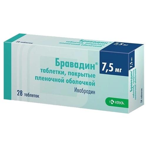 Бравадин таблетки, покрытые пленочной оболочкой 7,5 мг №28