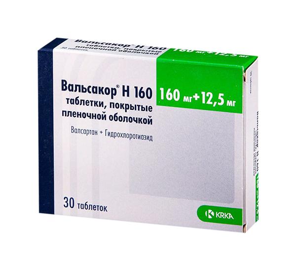 Вальсакор Н160 таблетки, покрытые пленочной оболочкой 160 мг+12,5 мг №30