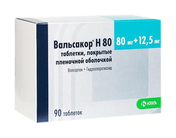 Вальсакор Н80 табл. п.п.о. 80 мг+12,5 мг 90 шт.
