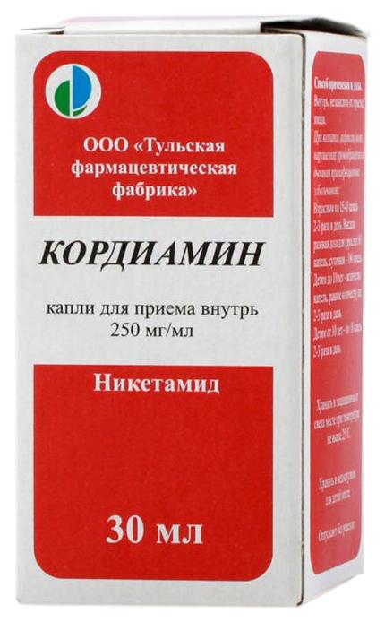 Купить Кордиамин капли для приема внутрь 25% флакон 30 мл №1, Тульская фармацевтическая фабрика