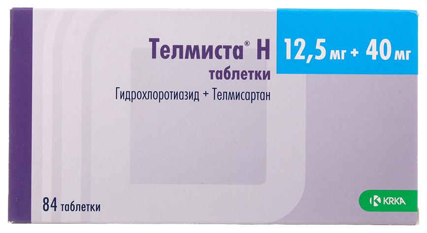 Телмиста Н таблетки 12,5 мг+40 мг №84