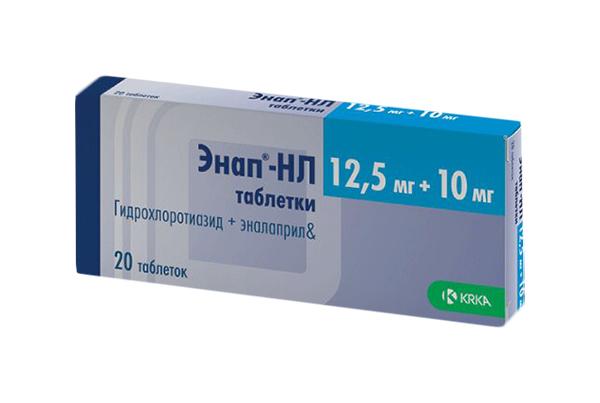 Энап-НЛ таблетки 10 мг+12,5 мг №20