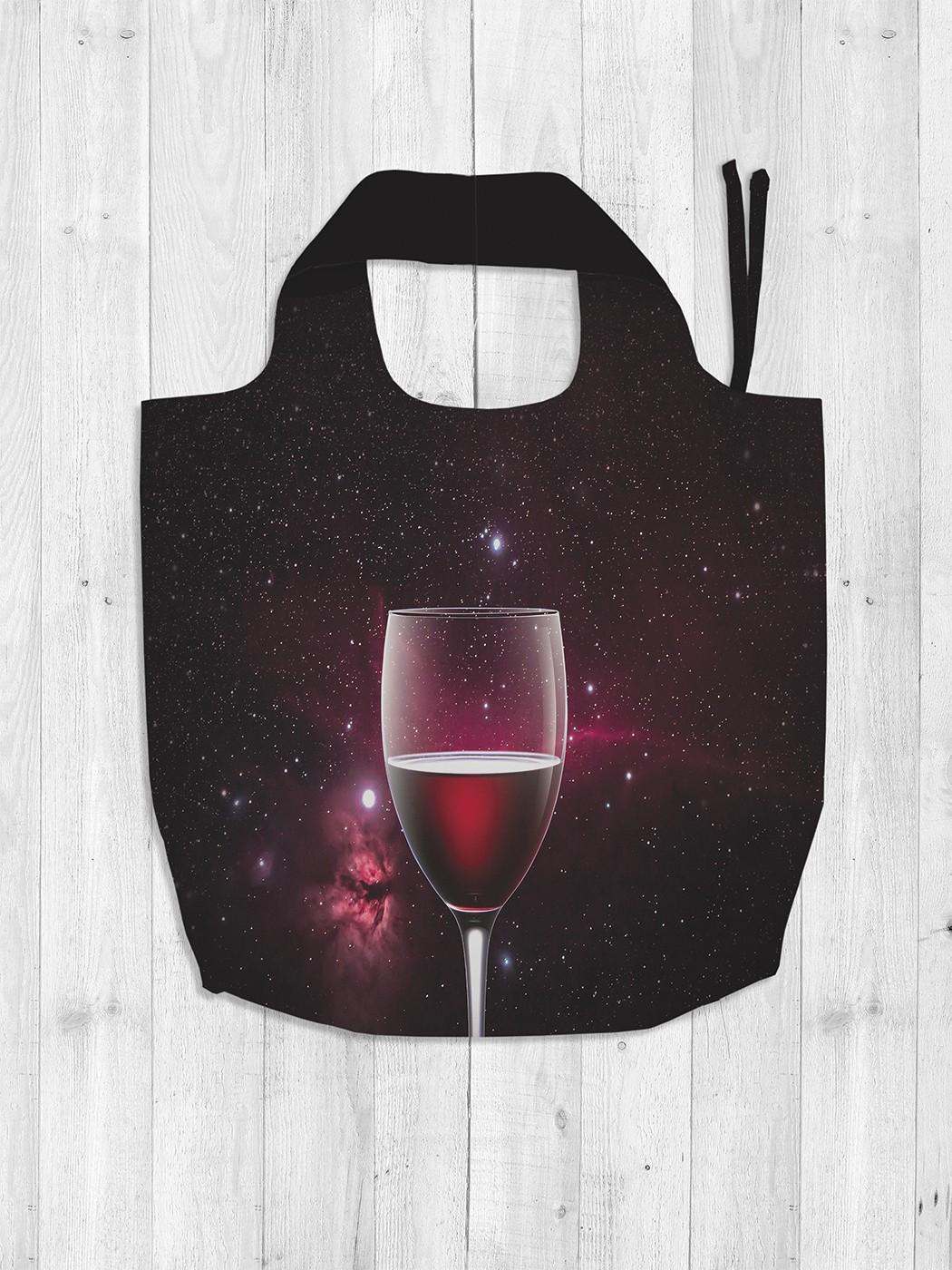 Авоська женская JoyArty Бокал вина в космосе фото
