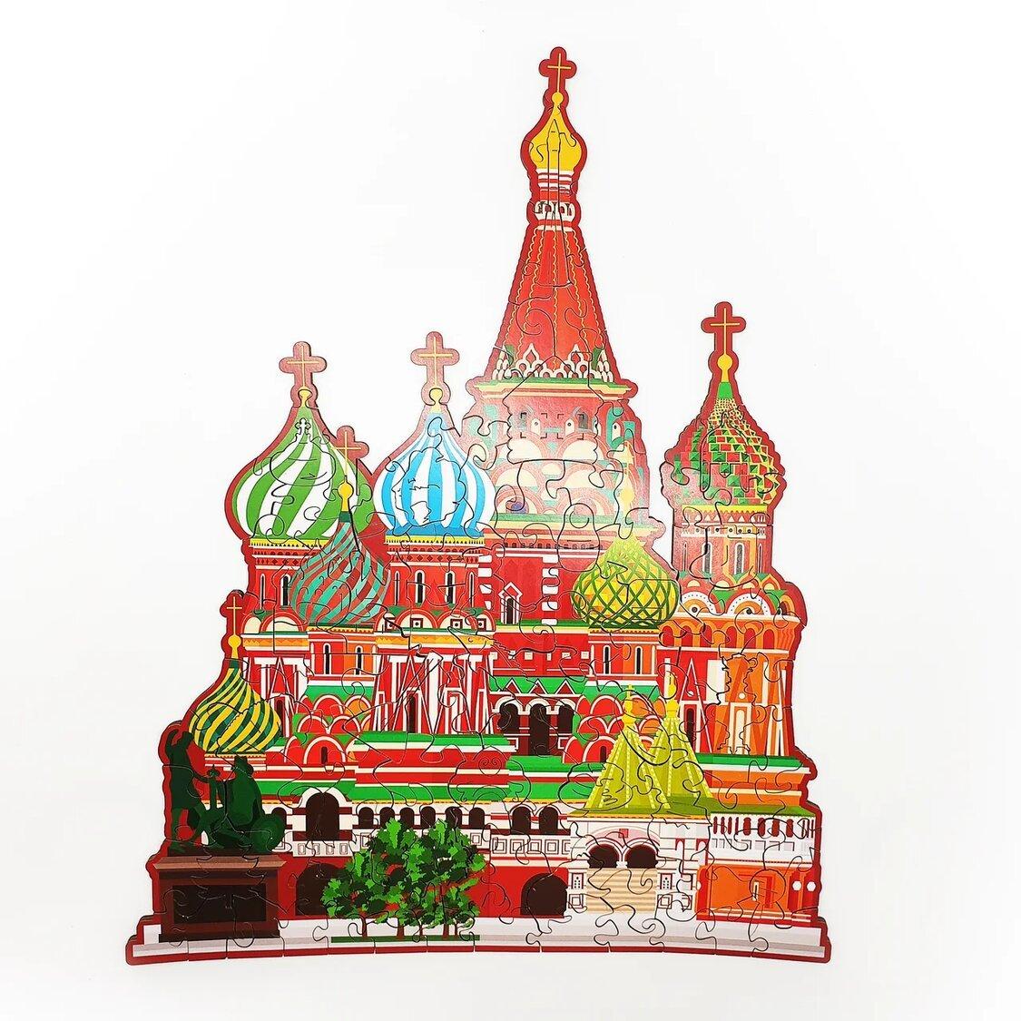 Купить Деревянный пазл Home Puzzle Собор Василия Блаженного, 30х24 см, Пазлы