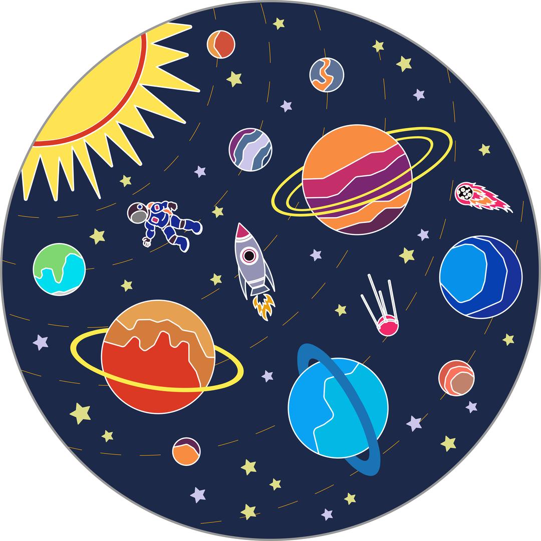 Игровой плюшевый ковер 3в1 Wolli Matlig Открытый космос, круглый 120 см