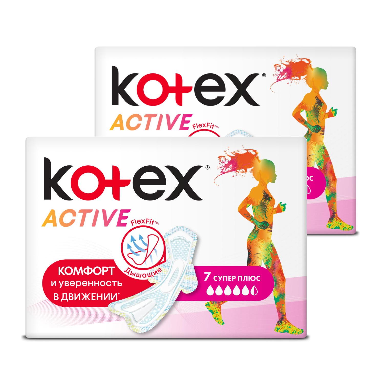 Прокладки гигиенические KOTEX Ультра ЭКТИВ Супер, 7 шт (Набор из 2 штук)