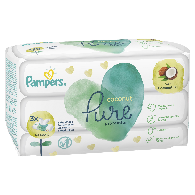 Детские влажные салфетки Pampers Pure Coconut 126 шт.